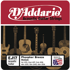 D'Addario Phosphor Bronze Acoustic Guitar Strings - Medium, Environmental Packaging - 3 sets of strings