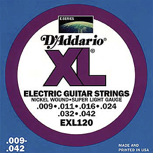 D'Addario XL Electric Guitar Strings - Super Light, 3 sets of strings