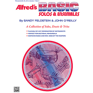 Alfred's Basic Solos and Ensembles, Book 1 - Percussion, Snare Drum, Bass Drum, & Accessories