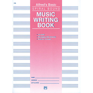 Music Writing Book - 9 X 12, 12 Staves, 96 Pages