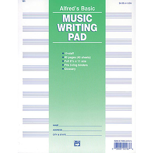 Music Writing Pad - 8-1/2 X 11, 10 Staves, 80 Pages (3-Hole Punched for Ring Binders)