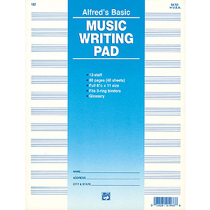 Music Writing Pad - 8-1/2 X 11, 12 Staves, 80 Pages (3-Hole Punched for Ring Binders)