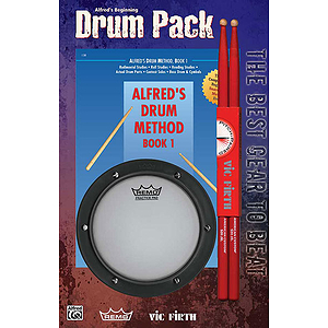 Alfred's Drum Method, Beginning Drum Pack (Book 1, Pad, Sticks)