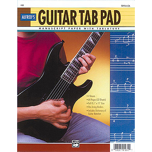 Guitar Tab Pad, 8-1/2 X 11, 64 Pages (3-Hole Punched for Ring Binders)
