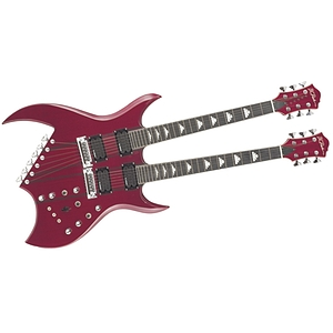 B.C. Rich Doubleneck Bich Electric Guitar, Trans Red w/ Ebony Stringers