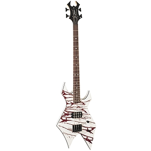 B.C. Rich Revenge Warlock 4 String Electric Bass Guitar, White with Blood Splatter
