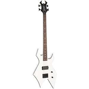 B.C. Rich Revenge Warlock 4 String Electric Bass Guitar, White with Black Binding