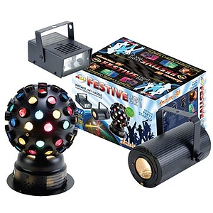 American DJ Festive Light Pak II with Moonflower, Color Ball, and Mini-Strobe