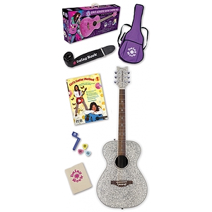 Daisy Rock Pixie Acoustic Guitar Starter Pack - Silver Sparkle