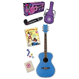 Daisy Rock Pixie Acoustic Guitar Starter Pack - Blue Sparkle