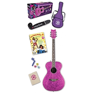 Daisy Rock Pixie Acoustic Guitar Starter Pack - Pink Sparkle