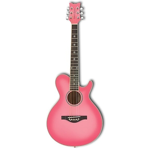 Daisy Rock Wildwood Acoustic Guitar - Pink Burst, Left-Handed