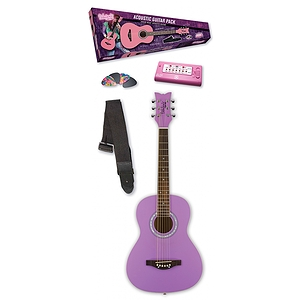 Daisy Rock Junior Miss Acoustic Short Scale Guitar Starter Pack - Popsicle Purple