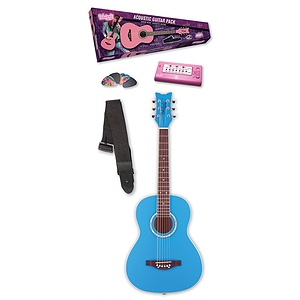 Daisy Rock Junior Miss Acoustic Short Scale Guitar Starter Pack - Cotton Candy Blue
