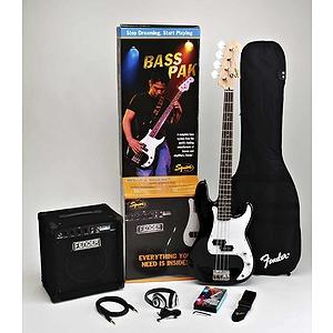 Squier® Bass Pak Bass Guitar Starter Pack - Black