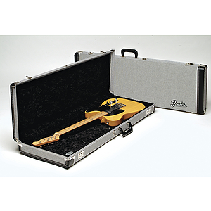 Fender® Deluxe Hardshell Strat/Tele Case - Black/Silver Tweed Exterior, Black Plush Interior