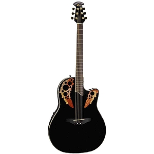 Ovation Celebrity Deluxe CC48 Shallow-body Multi-soundhole Acoustic-Electric Guitar - Black