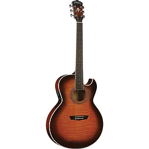 Washburn EA15 Florentine Acoustic-Electric Guitar, Flame Tobacco Burs