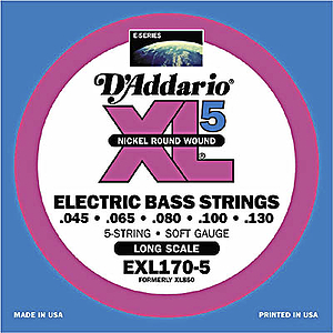 D'Addario XL 5-String Bass Strings - Soft, 2-pack