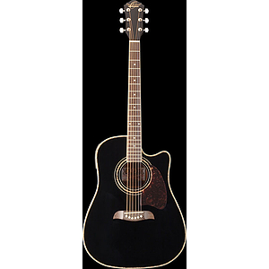 Oscar Schmidt Acoustic-Electric Dreadnought Cutaway - Black