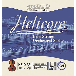 Helicore Orchestral Bass String Set, 3/4 &amp; 4/4