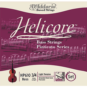 Helicore Pizzicato Bass Strings, 3/4 - 4/4 Medium