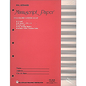 Standard Loose Leaf Manuscript Paper (Pink Cover)
