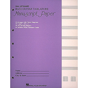 Bass Guitar Tablature Manuscript Paper (Purple Cover)