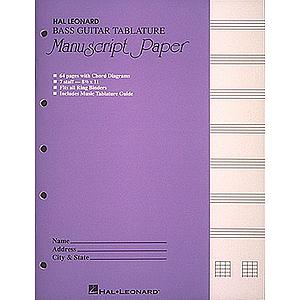 Bass Guitar Tablature Manuscript Paper (Purple Cover)