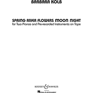 Spring River Flowers Moon Night