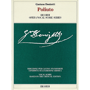 Poliuto Vocal Score Based On Crit Ed Ashbrook/parker
