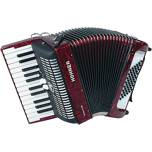 Hohner Bravo II 48 Piano Accordion - Tremolo/Red Pearl