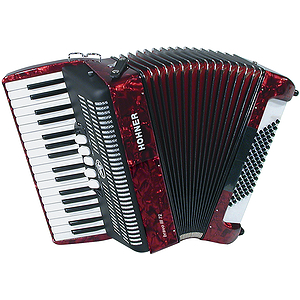 Hohner Bravo III 72 Piano Accordion - Continental Tremolo/Red Pearl