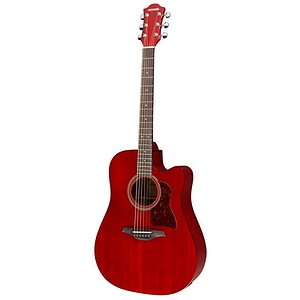 Hohner Chorus Series CD65CE Acoustic-Electric Guitar, Transparent Wine Red