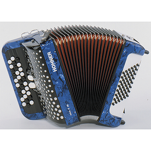 Hohner Nova II 48 Chromatic Button Key Accordion - Tremolo/Blue Pearl