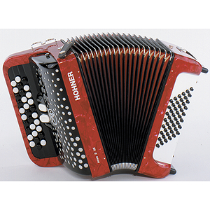 Hohner Nova II 48 Chromatic Button Key Accordion - Tremolo/Red Pearl