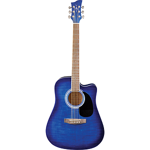 Jay Turser JJ45FCET Dreadnought Acoustic-Electric Guitar - Blue Sunburst
