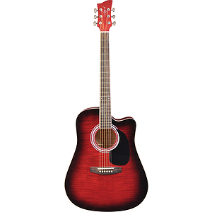 Jay Turser JJ45FCET Dreadnought Acoustic-Electric Guitar - Red Sunburst