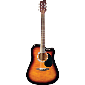 Jay Turser JJ45FCET Dreadnought Acoustic-Electric Guitar - Tobacco Sunburst