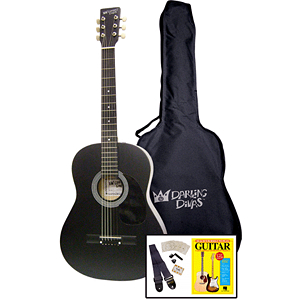 Darling Divas 3/4-size Children's Acoustic Guitar Starter Package - Steel String, Black Voodoo