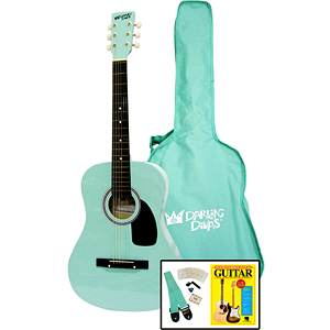 Darling Divas 3/4-size Children's Acoustic Guitar Starter Package - Steel String, Surfer Green