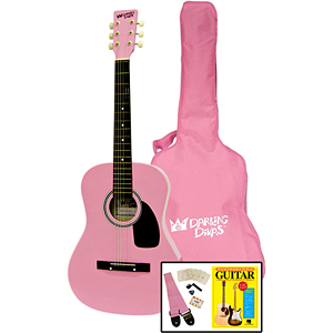 Darling Divas 3/4-size Children's Acoustic Guitar Starter Package - Steel String, Bubble Gum Pink
