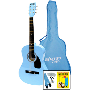 Darling Divas Acoustic Guitar Starter Package - 39&quot; Steel String, Powder Blue