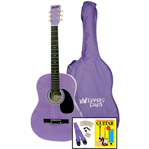 "Darling Divas Acoustic Guitar Starter Package - 39"" Steel String, Purple Haze"