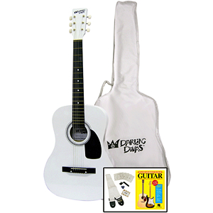 "Darling Divas Acoustic Guitar Starter Package - 39"" Steel String, Whisper White"