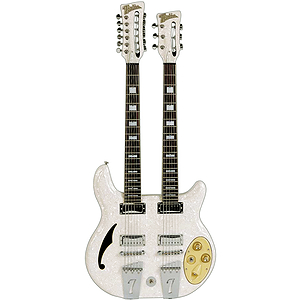 Italia Rimini Doubleneck Electric Guitar - White Pearloid
