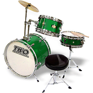 TKO 3-piece Junior Drum Set with Throne - Metallic Green Finish