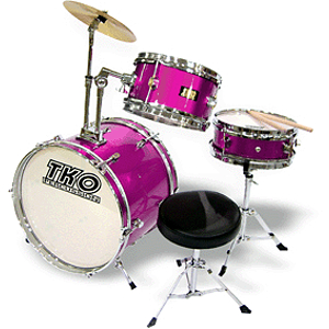 TKO 3-piece Junior Drum Set with Throne - Deep Magenta (Pink) Finish