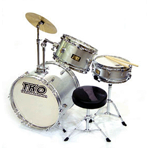 TKO 3-piece Junior Drum Set with Throne - Silver Finish