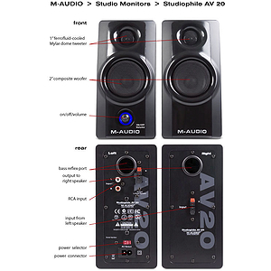 M-Audio Studiophile AV 20 Portable Desktop Speaker System